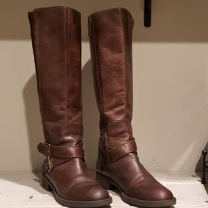 Enzo Angiolini tall distressed brown leather boots